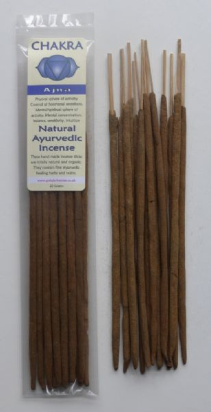 Chakra - Natural Ayurvedic Healing Incense Sticks - Ajna: Third-Eye Chakra - 20 grams